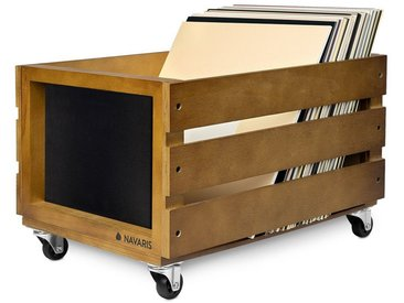 Navaris Holzkiste, Holz Schallplatten Kiste mit Kreidetafel - mit Rädern - 43,2 x 30,6 x 28cm - für bis zu 80 LPs - Vinyl Aufbewahrung, braun, braun