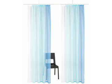 my home Gardine »Valverde«, Kräuselband (2 Stück), Vorhang, Fertiggardine, transparent, blau, blau
