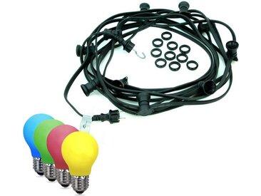 SATISFIRE Lichterkette »ILLU-Lichterkette BLACKY - 20m - 20xE27 IP44 bunte LED Tropfenlampen «, 20-flammig