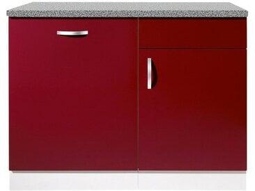 wiho Küchen Spülenschrank »Amrum« 110 cm breit, inkl. Tür/Sockel für Geschirrspüler, rot, Rot Glanz/Hellgrau