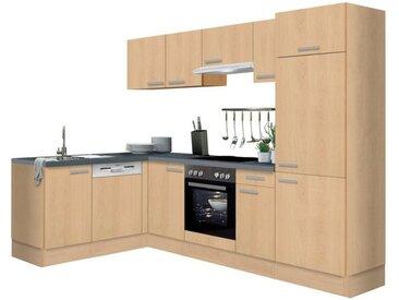 OPTIFIT Winkelküche »Odense«, mit E-Geräten, Stellbreite 275 x 175 cm, mit 28 mm starker Arbeitsplatte, mit Gratis Besteckeinsatz, natur, Buchefarben
