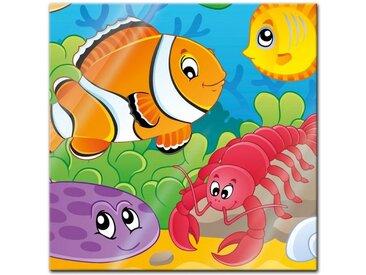 Bilderdepot24 Glasbild, Glasbild - Kinderbild Unterwasser Tiere VI
