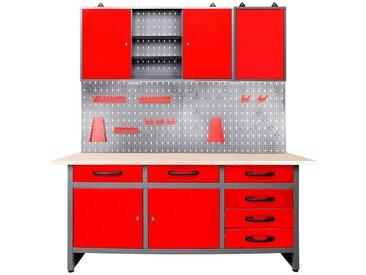 ONDIS24 Werkstatt-Set 160 cm, mit LED, rot, 85 cm, anthrazit/rot