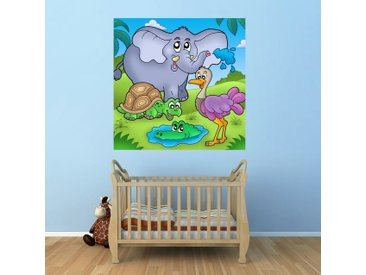 Bilderdepot24 Deco-Panel, Fototapete - Kinderbild Tropische Tiere, bunt, Farbig