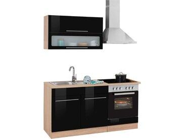 HELD MÖBEL Küchenzeile »Eton«, ohne E-Geräte, Breite 160 cm, schwarz, schwarz Hochglanz-eichefarben