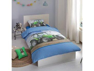 TRAUMSCHLAF Kinderbettwäsche »Traktor«, warme weiche Flanell Qualität