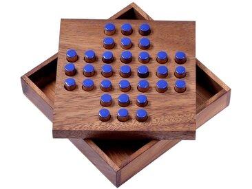 Logoplay Holzspiele Spiel, Solitär Gr. L - Solitaire - Steckspiel - Denkspiel - Knobelspiel - Geduldspiel - Logikspiel aus Holz - blaue Stecker