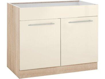 wiho Küchen Spülenschrank »Flexi2« Breite 100 cm, natur, vanillefarben/eichefarben