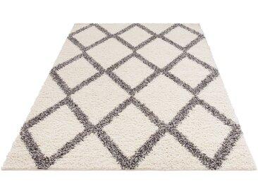my home Hochflor-Teppich »Linz«, rechteckig, Höhe 31 mm, dichter Flor, Rauten Design, weiß, weiß-grau