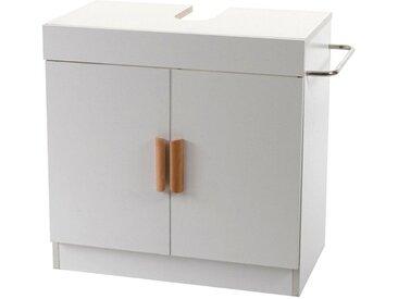 MCW Waschbeckenunterschrank »-D55« 1x Staufach mit Türen und Einlegeboden, Seitlicher Handtuchhalter/-bügel, Mit Aussparung für Siphon, weiß, weiß