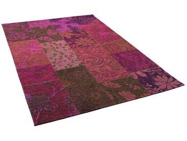 Pergamon Designteppich »Luxus Vintage Designerteppich Patchwork Violet«, Rechteckig, Höhe 5 mm