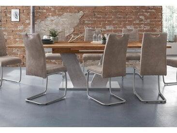 Esstisch »Komfort D«, mit V-Gestell in graphit und mit Auszugsfunktion, Breite 160-260 cm, natur, plankeneichefarben