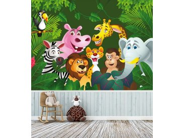 Bilderdepot24 Fototapete, Kinderbild Dschungeltiere Cartoon IV, selbstklebendes Vinyl, bunt, Kinderbild Dschungeltiere Cartoon IV, Farbig