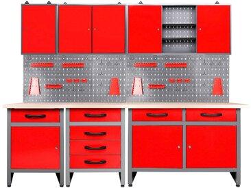 ONDIS24 Werkstatt-Set »Bastler«, höhenverstellbar, inkl. Hakenset, rot, 205 cm, rot/grau