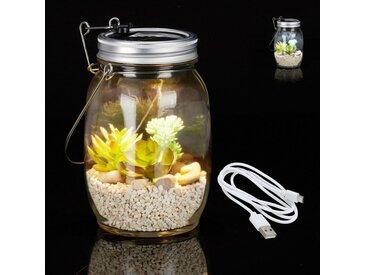 relaxdays Gartenleuchte »Solarlampe Glas mit USB«