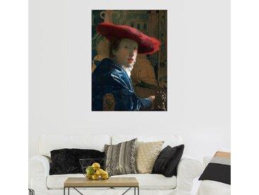 Posterlounge Wandbild, Mädchen mit rotem Hut, Premium-Poster