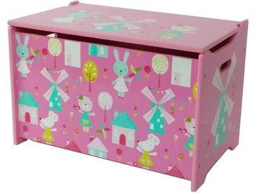 style home Spielzeugtruhe (1 Stück), Kindersitztruhe Aufbewahrungsbox Spielzeugkiste, Hase und Windmühle, Holz, 60 x 36 x 39 cm