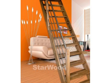 Starwood STARWOOD Raumspartreppe »Rhodos«, offene Stufen, gerade, Holz-Edelstahlgeländer rechts, natur, gerade, natur