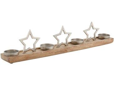 Adventsleuchter »Stern«, aus Holz, Glas und Metall, Länge ca. 75 cm