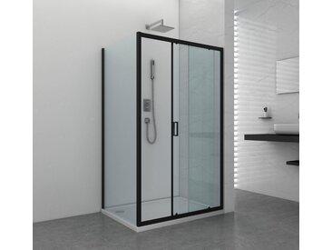 Sanotechnik Duschwand »Elite Black «, Fixglas mit Alu-Profil in Schwarz Matt, BxH: 90 x 195 cm, schwarz, ohne Antikalk-Versiegelung, 90 cm
