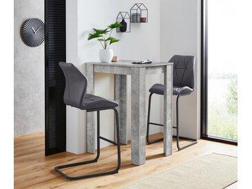 Homexperts Bargruppe »Nika-Indira«, Tisch mit 2 Barhockern, grau, Beton-Optik-grau