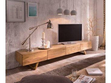 DELIFE TV-Board »Wyatt«, Akazie Natur 220 cm 4 Schubladen Design Lowboard, beige, Akazie, Natur