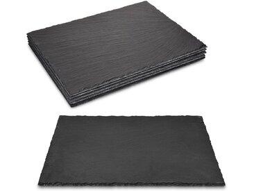 Navaris Platzset, Schiefer Teller 6-teilig - 38x28cm Schieferplatten 6x Servierplatte für Sushi Käse - Schieferplatte eckig groß