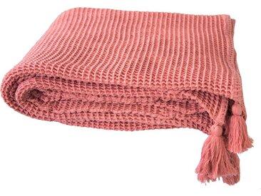 TOM TAILOR Plaid »Honeycomb«, mit Quasten, rosa, altrosa