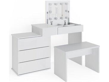 Vicco Schminktisch »Lotos weiß mit LED-Beleuchtung Spiegel Sitzbank Frisiertisch«