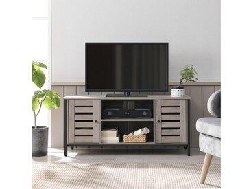 VASAGLE TV-Schrank »LTV43MB« TV-Schrank, Fernsehtisch, Lowboard mit 2 Schränken und 2 Regalebenen, Wohnzimmer, Lamellentüren, Industrie-Design