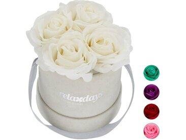 relaxdays Kunstblume »Graue Rosenbox rund 4 Rosen«, Höhe 14 cm, Weiß