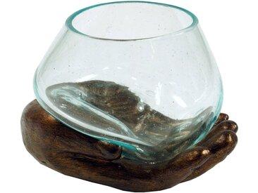 Guru-Shop Windlicht »Teelichtglas aus Mundgeblasenem Glas auf..«, gelb, bronze