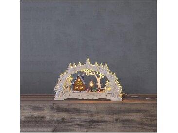"STAR TRADING LED Fensterleuchter »""Ulm"" - 10 warmweiße LED - Holz - H: 27cm, L: 43cm - Batterie & Trafo - natur«"