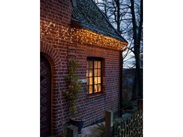 KONSTSMIDE LED Eisregen Lichtervorhang, weiß, Lichtquelle bernsteinfarben, 400 LEDs, Weiß