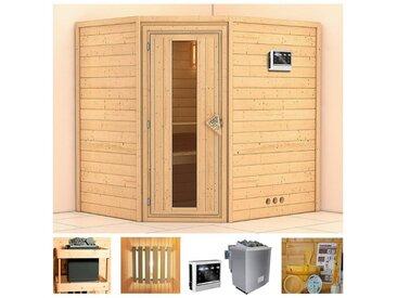 KONIFERA Sauna »Meyk«, 196x170x198 cm, 9 kW Bio-Ofen mit ext. Strg., Energiespartür, natur, 9 kW Bio-Kombiofen mit externer Steuerung, natur