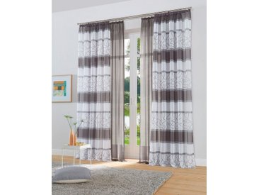 my home Gardine »Napala-Uni«, Kräuselband (2 Stück), Vorhang, Fertiggardine, transparent, grau, grau
