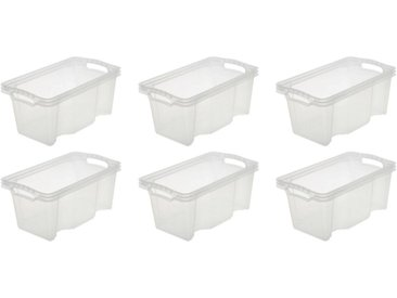 keeeper Aufbewahrungsbox »franz« (Set, 6 Stück), 6,5 Liter, weiß, transparent