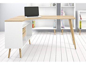 ebuy24 Schreibtisch »Napoli Eckschreibtisch mit 2 Schubladen und 3 Abla«, weiss, Eiche