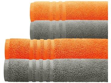 Lashuma Handtuch Set »London« (Set, 4-tlg), Zweifarbiges 4er Frotteetuch Set, 2x Handtuch 50x100 - 2x Duschtuch 70x140, orange, grau-orange