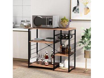 Masbekte Küchenregal, Küchenbäckerregale für Mikrowellen mit Weinglashalter, 3-stufiger + 4-stufiger Tisch für Gewürze und Töpfe, Workstation-Küche