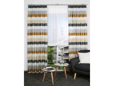 HOME WOHNIDEEN Gardine »OLAV«, Kräuselband (1 Stück), Fertigschal- Querstreifen, goldfarben, goldfarben-grau-beige