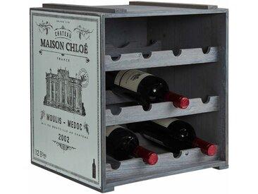 BUTLERS Weinregal »VINOTHEK Weinregal«, Weinschrank in Natur - Weinkiste aus Tannenholz - Flaschenregal, Holzregal, Weinständer, grau, Hellgrau