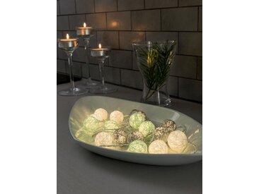 KONSTSMIDE LED Dekolichterkette, Baumwollkugeln, klein, bunt, Lichtquelle warm-weiß, Blau-grau-weiß