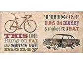 Home affaire Deco-Panel »Skip Teller / Bikes vs. Car«, 100/50/2 cm, beige