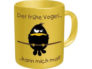 Rahmenlos Kaffeebecher mit lustigem Motiv, gelb, mehrfarbig