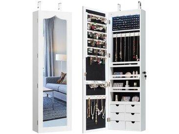 COSTWAY Schmuckschrank »Schmuckschrank« mit LED Beleuchtung, Schmuckregal mit Ganzkörperspiegel, hängend für Tür und Wandmontage, abschließbar, weiß