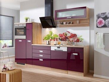 HELD MÖBEL Küchenzeile »Fulda«, ohne E-Geräte, Breite 280 cm, lila, auberginefarben