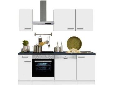 OPTIFIT Küchenzeile »Odense«, ohne E-Geräte, Breite 210 cm, mit 28 mm starker Arbeitsplatte, mit Gratis Besteckeinsatz, weiß, weiß/weiß