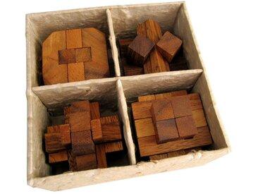 Logoplay Holzspiele Spiel, 4 Knobelspiele im Set - 3D Puzzle - Denkspiele - Geduldspiele - Logikspiele in einer dekorativen Geschenkbox