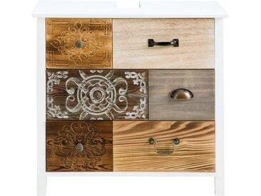 heine home Waschbeckenunterschrank, weiß, ca. 60/65/30 cm, 6 Schubläden, weiß/braun